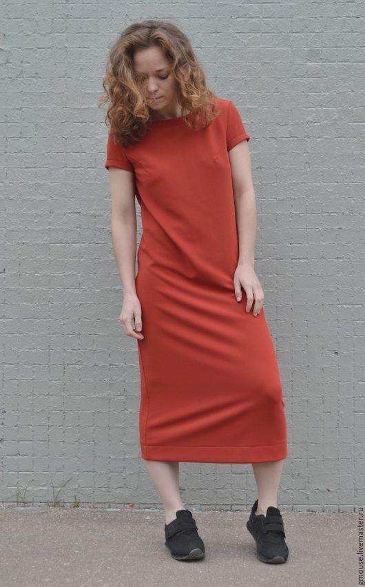 Платья ручной работы. Ярмарка Мастеров - ручная работа. Купить Платье миди из трикотажа ТЕРРАКОТ. Handmade. Однотонный, платье, трикотаж