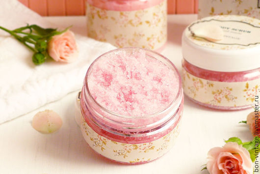 Скраб ручной работы. Ярмарка Мастеров - ручная работа. Купить Розы - сахарный скраб. Handmade. Бледно-розовый, розовый, сахар