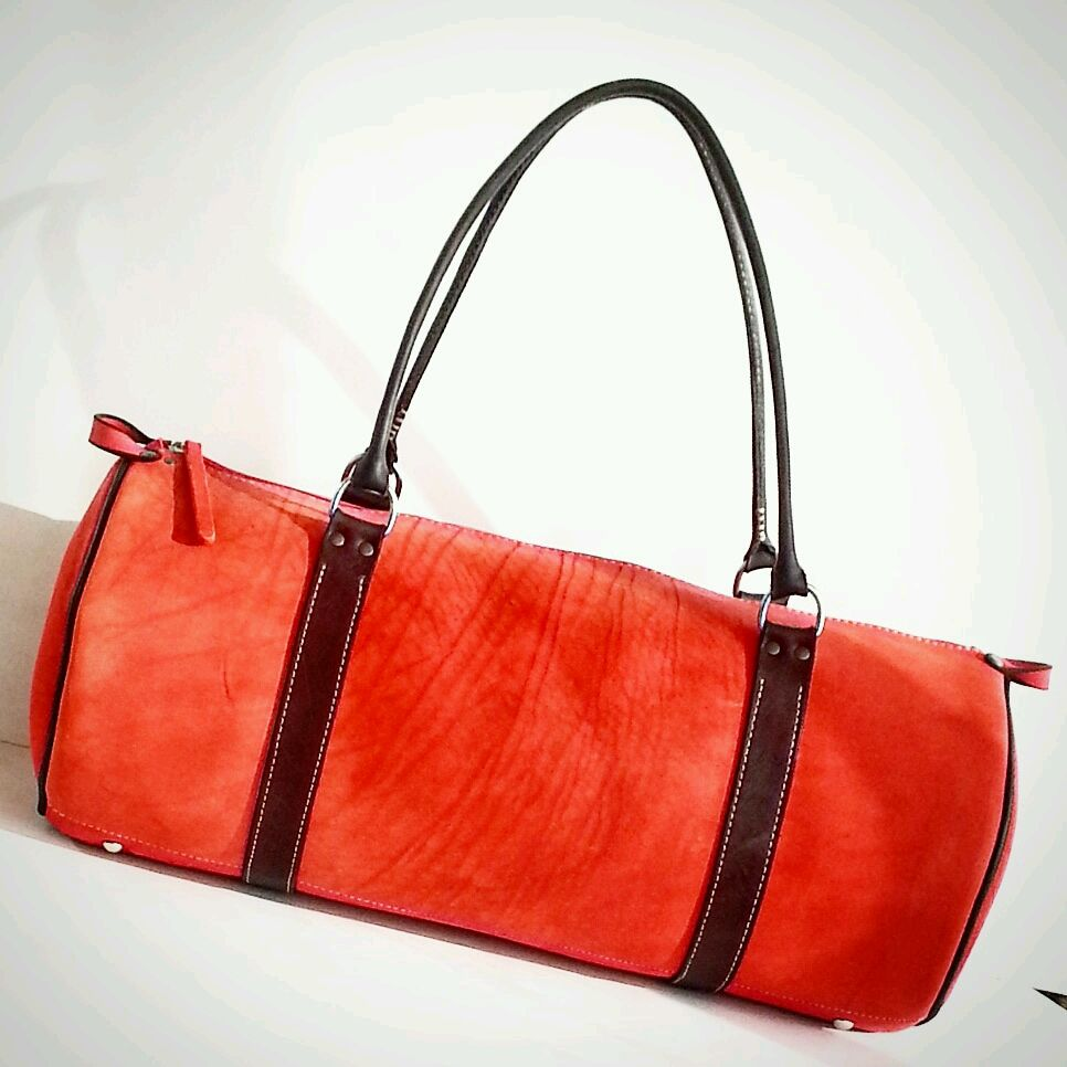 Powerful leather handbag. Thick red, black belts art D1, Classic Bag, Moscow,  Фото №1