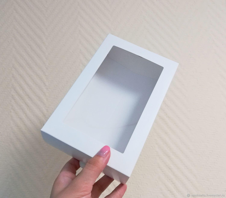 Коробка 18,5х12х6 белая с окном и крышкой, Коробки, Архангельск,  Фото №1