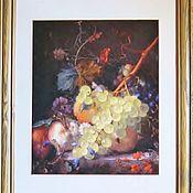 """Картины и панно ручной работы. Ярмарка Мастеров - ручная работа Картина вышивка """"Натюрморт с персиками и виноградом"""". Handmade."""