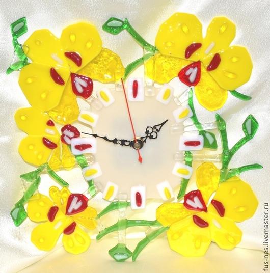 Часы для дома ручной работы. Ярмарка Мастеров - ручная работа. Купить Золотая Орхидея Фьюзинг. Handmade. Желтый, часы необычные