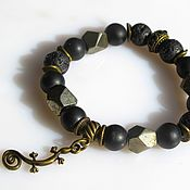 Украшения handmade. Livemaster - original item B13 Bracelet with pyrite,lava and shungita. Handmade.