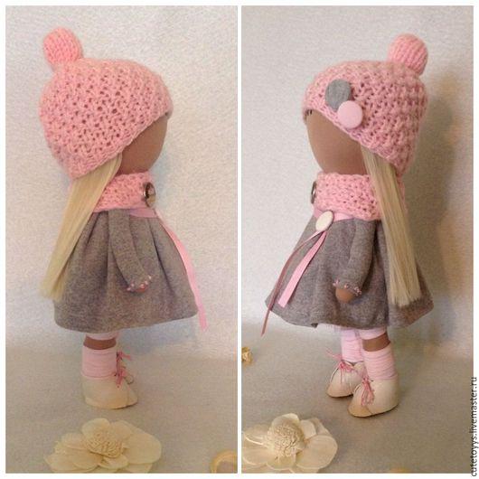 Куклы тыквоголовки ручной работы. Ярмарка Мастеров - ручная работа. Купить Интерьерная кукла в розовой шапочке. Handmade. Бледно-розовый
