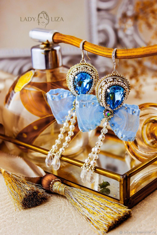 Blue earrings with bows aquamarine. bead earrings, Earrings, Armavir,  Фото №1