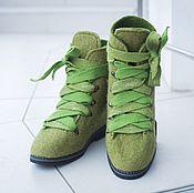 Обувь ручной работы. Ярмарка Мастеров - ручная работа Ботинки Валяные Зеленый Мох. Handmade.
