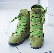 Boots handmade. Livemaster - original item Shoes Felted Moss Green. Handmade.