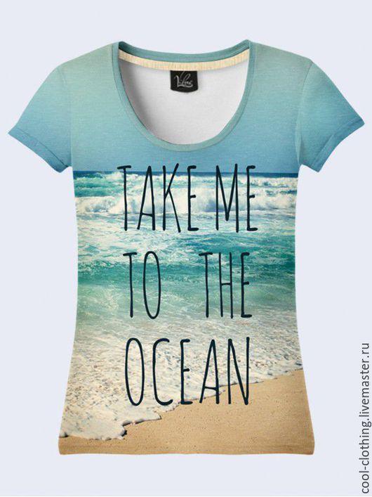 """Футболки, майки ручной работы. Ярмарка Мастеров - ручная работа. Купить Женская футболка """"Океан"""". Handmade. Рисунок, подарок женщине"""