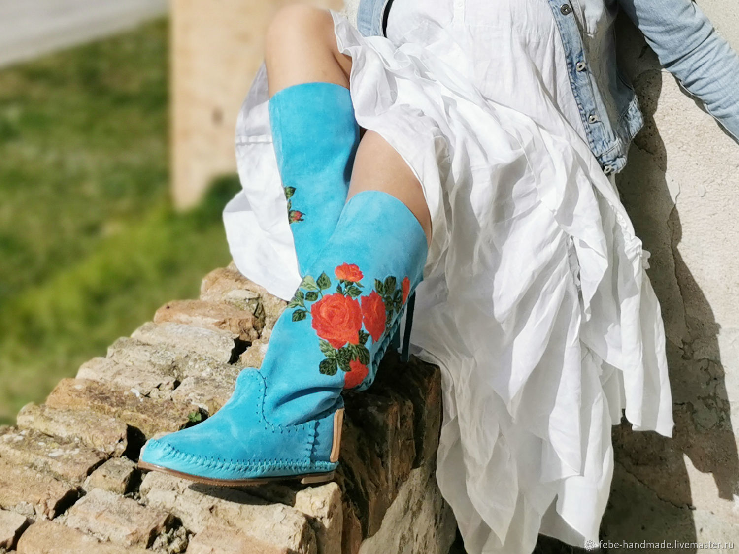 ROSE turquoise / High boots handmade with embroidery, High Boots, ,  Фото №1