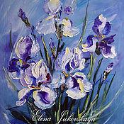 """Картины и панно ручной работы. Ярмарка Мастеров - ручная работа Картина маслом цветы - """"Синий ветер"""" -  ирисы. Handmade."""