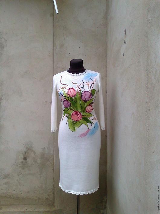Платья ручной работы. Ярмарка Мастеров - ручная работа. Купить платье вязаное Цветы. Handmade. Белый, платье вязаное