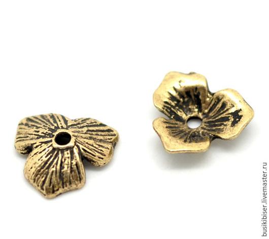 """Для украшений ручной работы. Ярмарка Мастеров - ручная работа. Купить Шапочки для бусин """"Цветы"""" - античное золото для бусин 14-20мм. (10 шт). Handmade."""