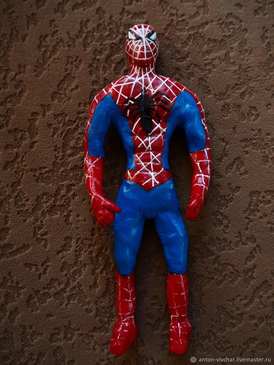 Человек паук. Игрушка. Фигурка из глины. Доставка, Модели, Москва,  Фото №1