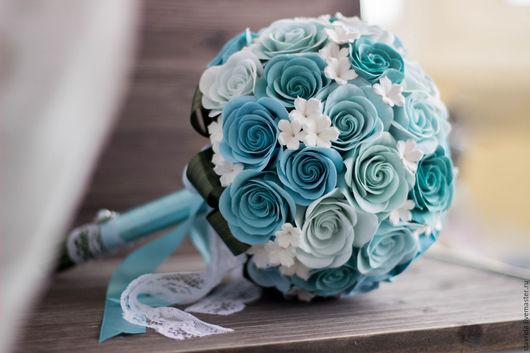 Свадебные цветы ручной работы. Ярмарка Мастеров - ручная работа. Купить Букет из викторианских роз. Handmade. Голубой