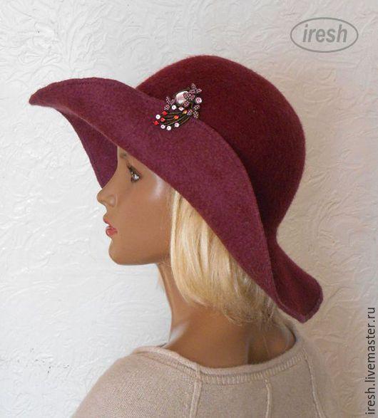 """Шляпы ручной работы. Ярмарка Мастеров - ручная работа. Купить Валяная шляпа """"Спелая вишня"""". Handmade. Бордовый, осенняя шляпка"""