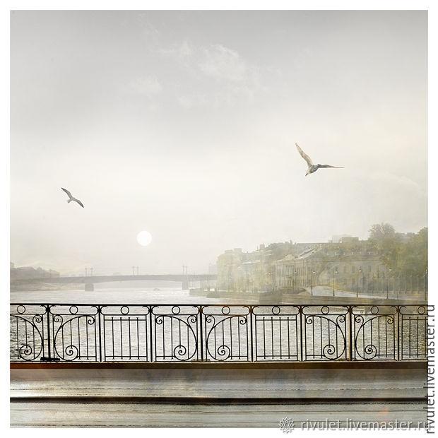 Фотокартина с видом Петербурга серый пастельный пейзаж, Фотокартины, Москва,  Фото №1