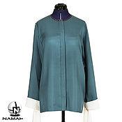 Одежда ручной работы. Ярмарка Мастеров - ручная работа Блузка женская нарядная, длинная блузка Темно-бирюзовая,с завязками. Handmade.