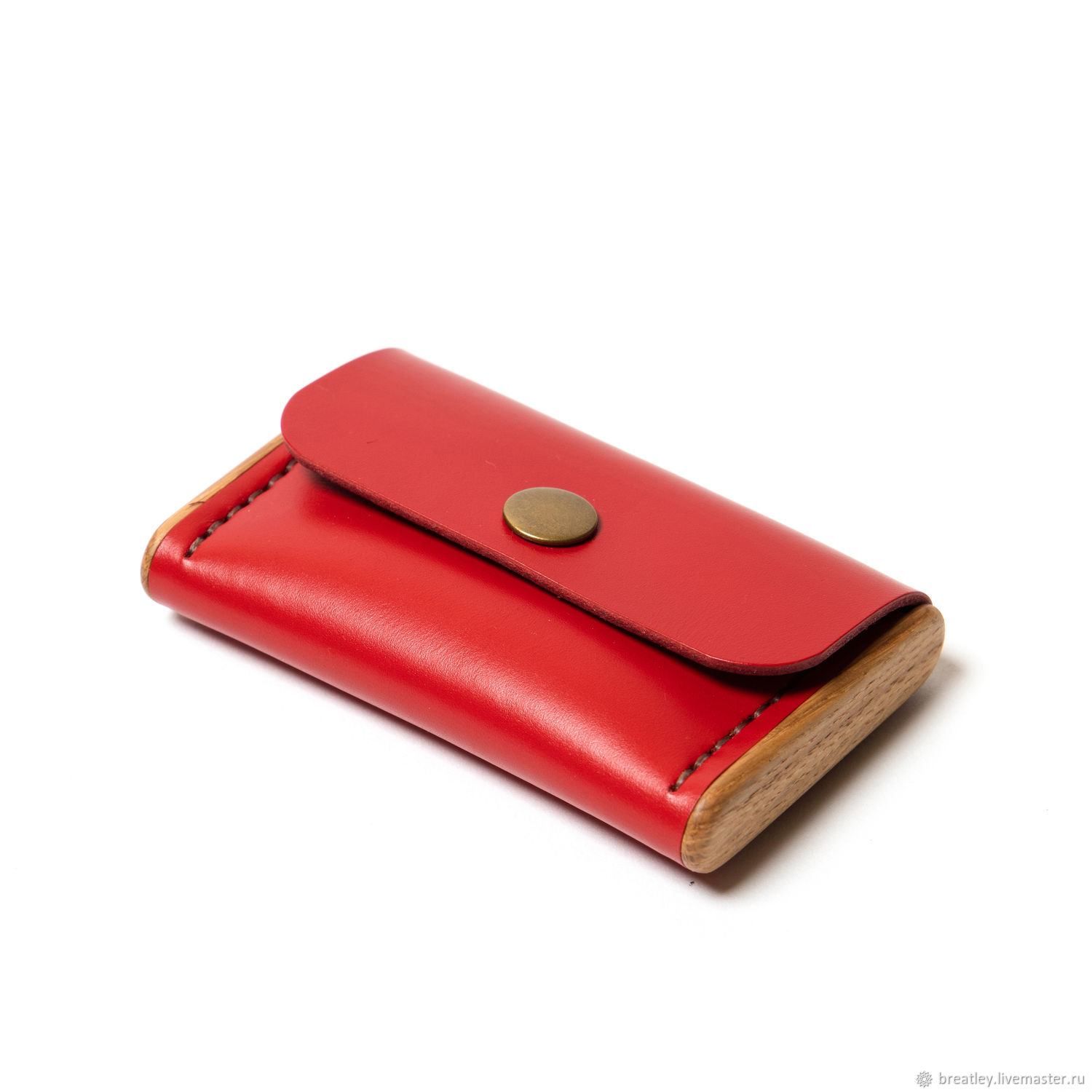Red business card holder for women-BREATLEY-leather business card holder with wood, Business card holders, Moscow,  Фото №1