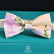handmade. Livemaster - original item Tie Spring / beige tie necktie with flowers. Handmade.
