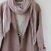 Одежда handmade. Livemaster - original item Long linen cardigan coat with open edges. Handmade.
