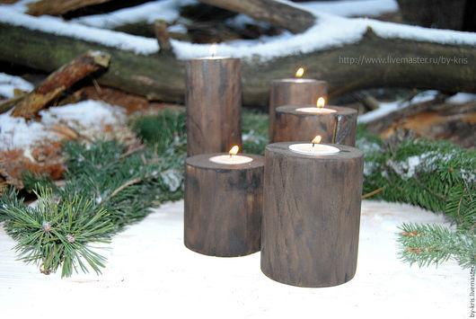 Подсвечники ручной работы. Ярмарка Мастеров - ручная работа. Купить набор из 5 деревянных подсвечников, оригинальный подарок. Handmade.