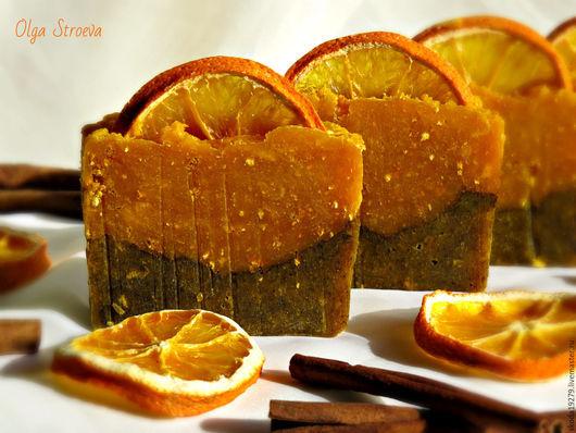 Мыло ручной работы. Ярмарка Мастеров - ручная работа. Купить Натуральное мыло с нуля «Аромат праздника» (апельсин, корица). Handmade.