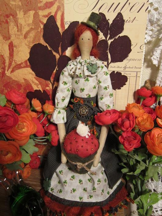 """Куклы Тильды ручной работы. Ярмарка Мастеров - ручная работа. Купить Тильда """"С Днем Святого Патрика!"""". Handmade. Изумрудный"""