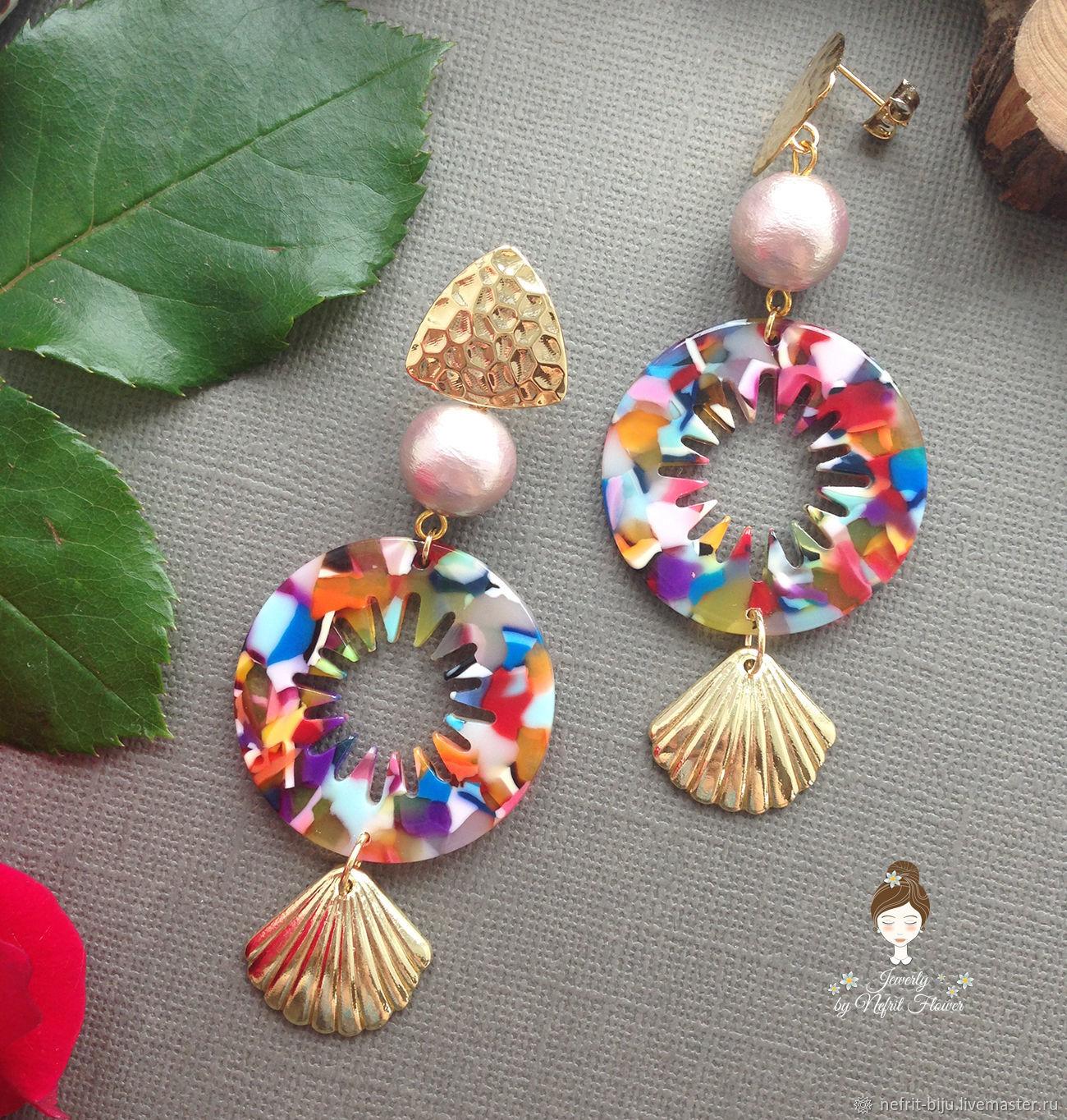 Spectacular bright stylish earrings 'Tropical Paradise' shells, Earrings, St. Petersburg,  Фото №1