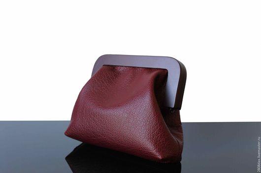 Женские сумки ручной работы. Ярмарка Мастеров - ручная работа. Купить Клатч, кожаный клатч, большой клатч, вишневый. Handmade.