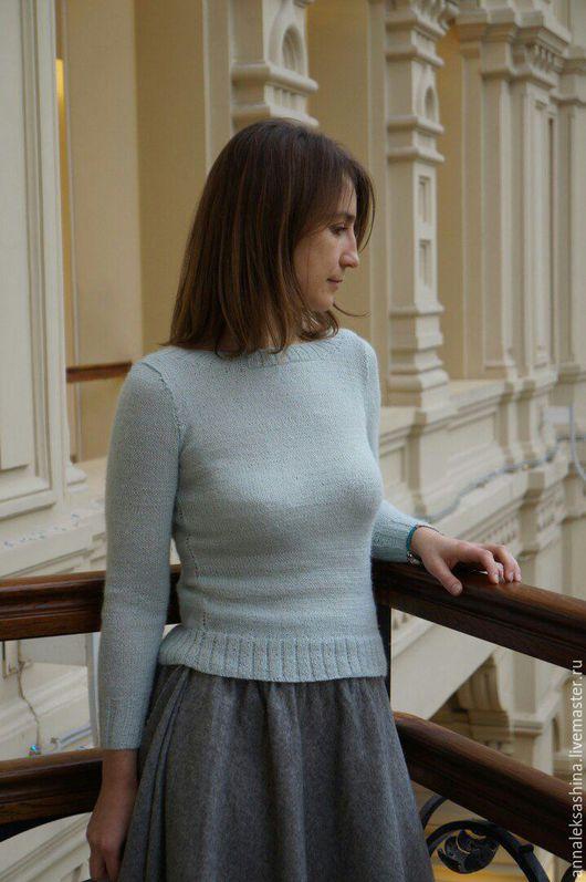 Кофты и свитера ручной работы. Ярмарка Мастеров - ручная работа. Купить Пуловер Sky. Handmade. Голубой, пуловер вязаный