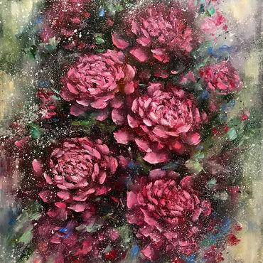 """Картины и панно ручной работы. Ярмарка Мастеров - ручная работа Картина розовые пионы """"Пионы в саду """" картина маслом. Handmade."""