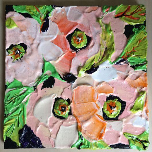 Картины цветов ручной работы. Ярмарка Мастеров - ручная работа. Купить Кремовые маки. Handmade. Цветы, мастихин, акриловые краски