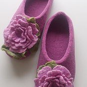 Slippers handmade. Livemaster - original item Felted Slippers womens pink. Handmade.