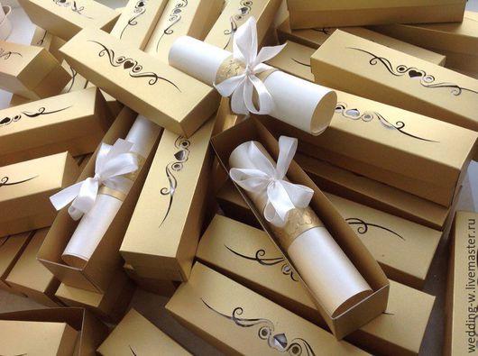"""Свадебные аксессуары ручной работы. Ярмарка Мастеров - ручная работа. Купить Свадебное приглашение """"свиток в резной коробочке"""". Handmade."""