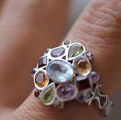Украшения ручной работы. Ярмарка Мастеров - ручная работа 17.5 перстень с камнями яркий  кольцо серебряное. Handmade.