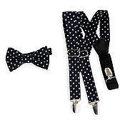 Аксессуары handmade. Livemaster - original item Set bow tie and braces, dark blue stars. Handmade.