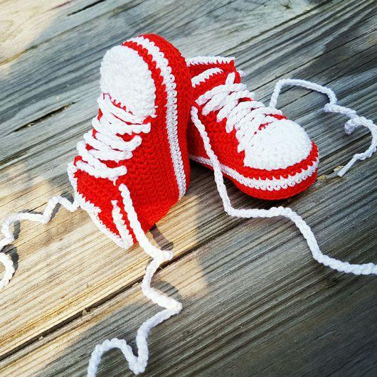 """Обувь ручной работы. Ярмарка Мастеров - ручная работа. Купить Пинетки """"Кеды"""". Handmade. Пинетки для новорожденных, пинетки для крещения"""