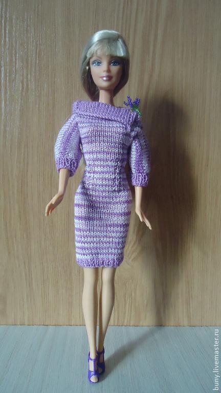 Одежда для кукол ручной работы. Ярмарка Мастеров - ручная работа. Купить платье с воротником. Handmade. Фиолетовый, одежда для кукол