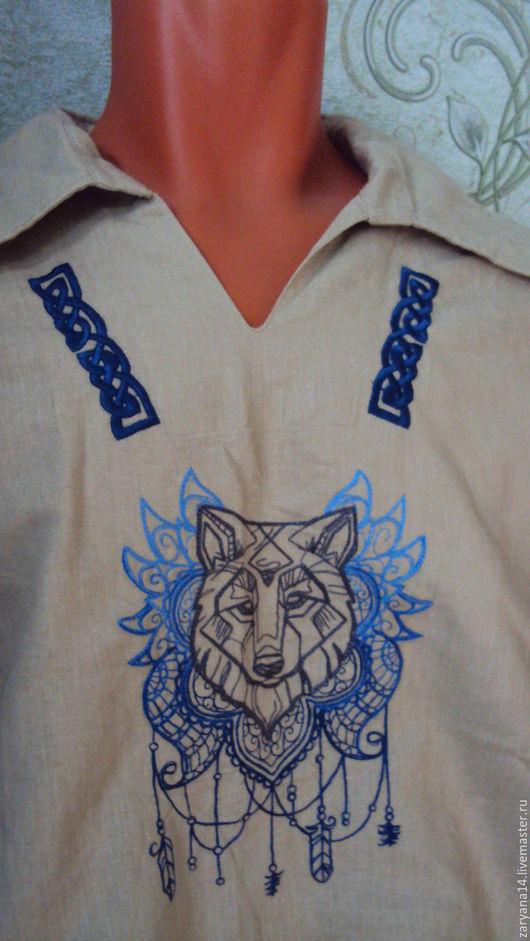"""Для мужчин, ручной работы. Ярмарка Мастеров - ручная работа. Купить Мужская рубаха"""" Волк"""". Handmade. Бежевый, волк"""