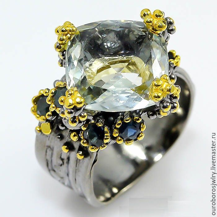 Silver ring with aquamarine and sapphire, Rings, Novosibirsk,  Фото №1