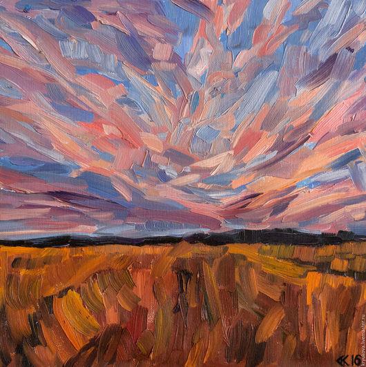 Летний пейзаж маслом Поле поля русское поле Розовый закат над полем Картина летний пейзаж Летний вечер пейзаж Пейзаж лето масло холст