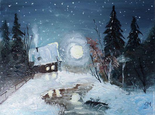 Картина `Сказка зимней ночи`  Выполнена маслом на холсте. Ручная работа!  Размер 18/24 см