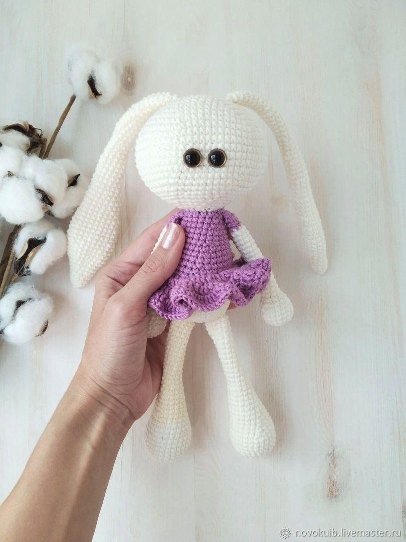 Handmade knitted bunny, amigurumi, bunny in a dress, Amigurumi dolls and toys, Novokuibyshevsk,  Фото №1