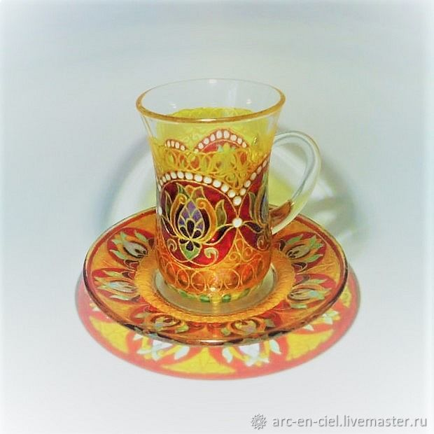 Glass painted Cup and saucer ' Morning dawn', Mugs and cups, Omsk,  Фото №1