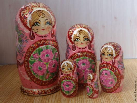"""Матрешки ручной работы. Ярмарка Мастеров - ручная работа. Купить Матрёшка 5 мест """" И опять розовая...."""". Handmade."""