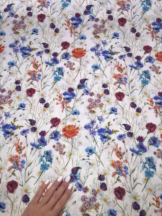 Шитье ручной работы. Ярмарка Мастеров - ручная работа. Купить Поплин полевые цветы на белом. Handmade. Ткань, хлопок 100%
