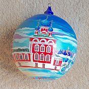 Подарки к праздникам ручной работы. Ярмарка Мастеров - ручная работа Елочный шар деревянный с росписью. Handmade.