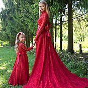 Одежда ручной работы. Ярмарка Мастеров - ручная работа Красный family look (парные платья мама + дочка). Handmade.
