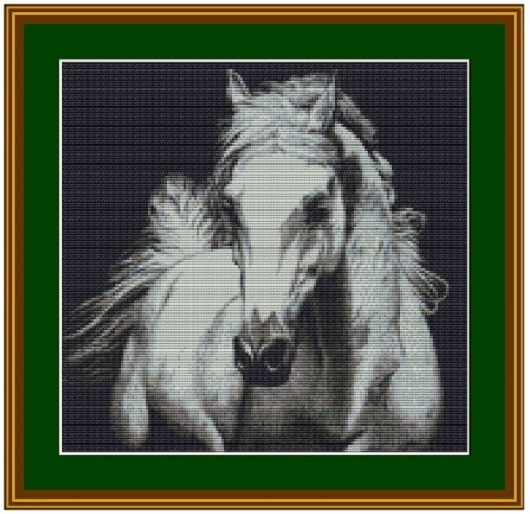 """Животные ручной работы. Ярмарка Мастеров - ручная работа. Купить Схема для вышивки крестом """"Конь"""". Handmade. Серебряный, Вышивка крестом"""