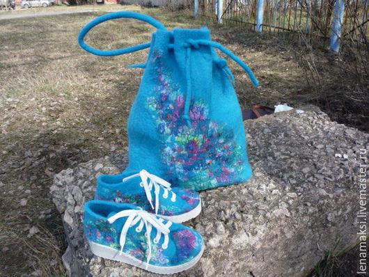"""Обувь ручной работы. Ярмарка Мастеров - ручная работа. Купить Комплект """"Бриз"""". Handmade. Бирюзовый, торба, Овечья шерсть"""